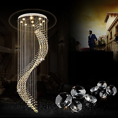 Modern LED Crystal Ceiling Pendant Lights Indoor Chandeliers Home ...