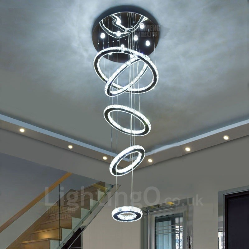 Dimmable 5 rings modern led crystal ceiling pendant light indoor dimmable 5 rings modern led crystal ceiling pendant light indoor chandeliers home hanging down lighting lamps aloadofball Choice Image