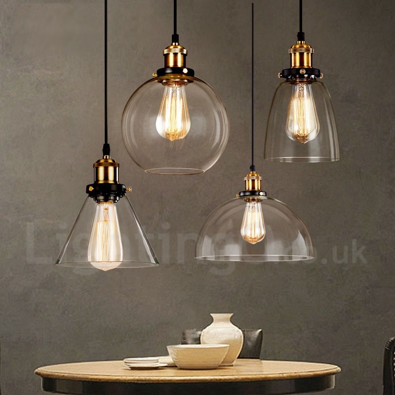 Retro Vintage Living Room Bedroom Pendant Light With Gl Shade For Dining Lamp