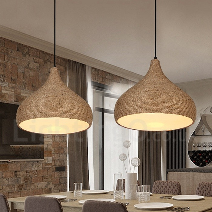 1 light retrorustic hemp rope pendant light with hemp rope shade aloadofball Choice Image