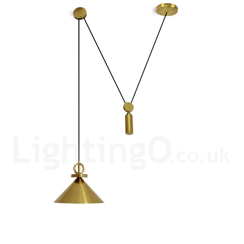 Pure Copper Led Modern Contemporary Nordic Style Rise And Fall Pendant Light Br Ceiling Lamp