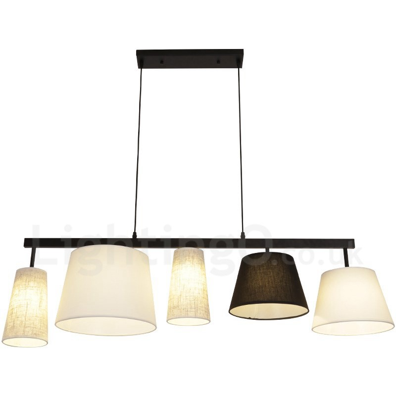 Modern Contemporary 5 Light Steel Pendant With Fabric Shade For Corridor Living Room