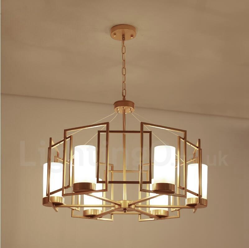 modern contemporary 6 light brass pendant light with glass shade