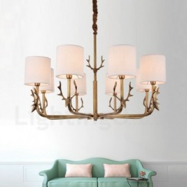 Rustic Lodge 8 Light Br Chandelier With Fabric Shade For Living Room Dinning