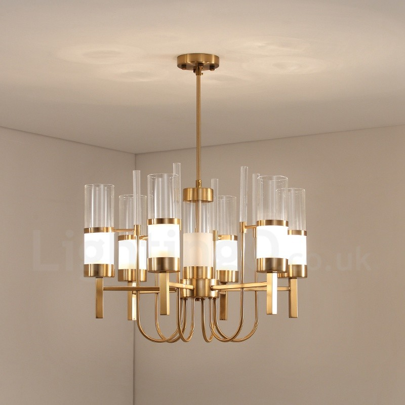 Rustic Lodge Modern Contemporary 6 Light Steel Chandelier With Glass Shade For Living