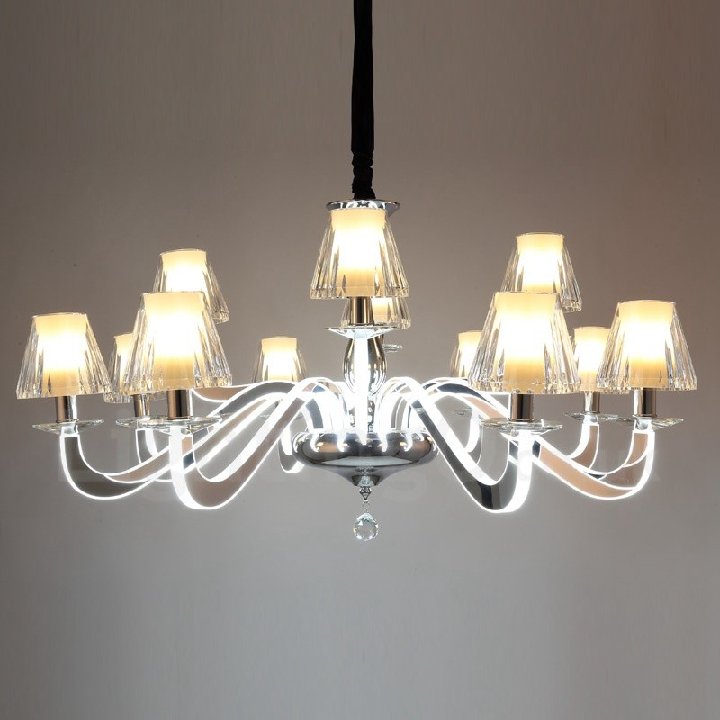 Dimmable Modern Contemporary 12 Light Steel Chandelier With Glass Shade For Living Room Dinning